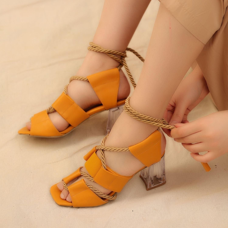Hardal Halat Detaylı Şeffaf Topuklu Sandalet