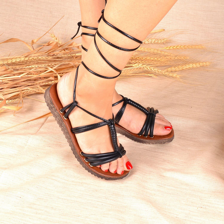 Siyah Bağlamalı Kadın Sandalet