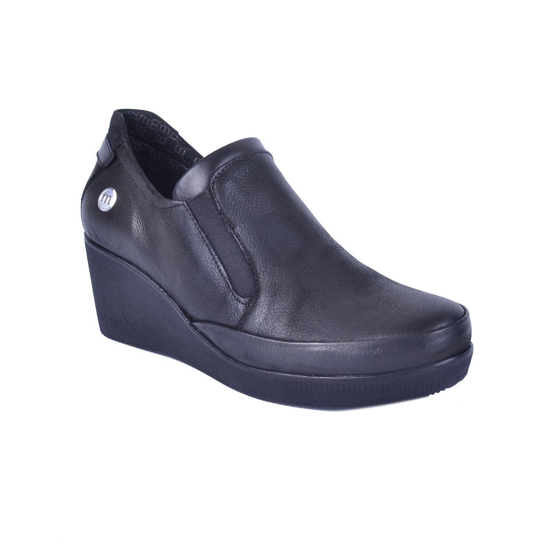 Siyah Kadın Dolgu Topuk Deri Ayakkabı 525
