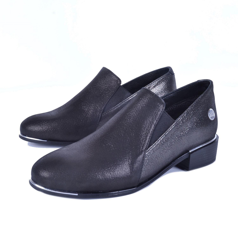 Gri Kadın Alçak Topuk Deri Ayakkabı 385