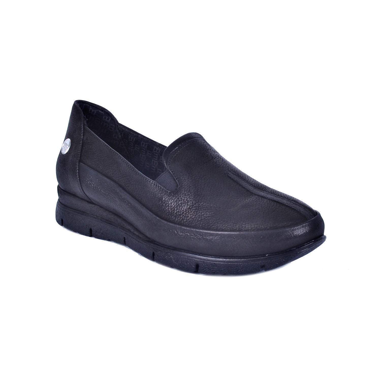 Siyah Kadın Alçak Topuk Deri Ayakkabı 735