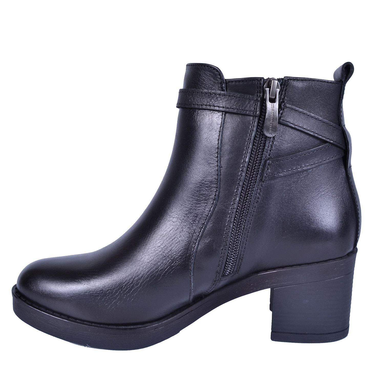 Mammamia 1515 Siyah Kadın Alçak Topuk Deri Bot