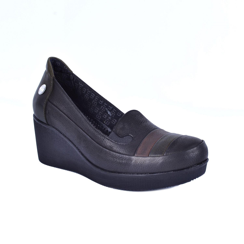 Siyah Kadın Dolgu Topuk Deri Ayakkabı 530