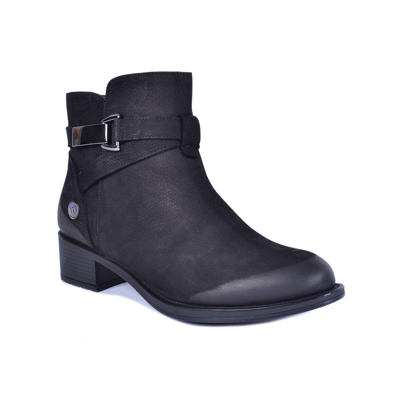 Mammamia 4800 Siyah Kadın Alçak Topuk Deri Bot