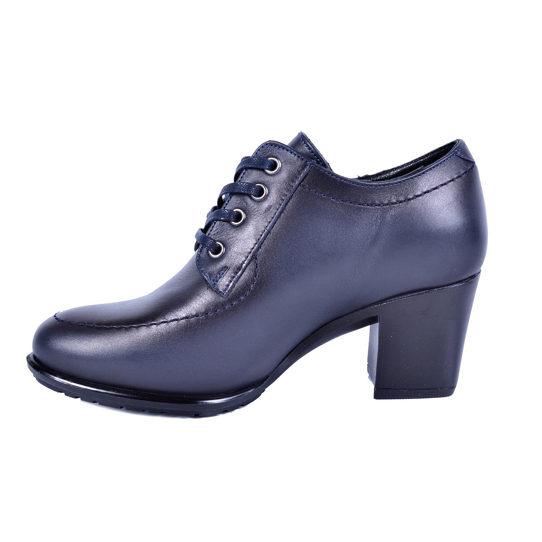 Lacivert Kadın Topuklu Deri Ayakkabı 740