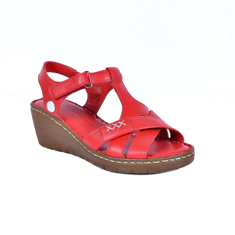 Kırmızı Kadın Deri Sandalet 1300