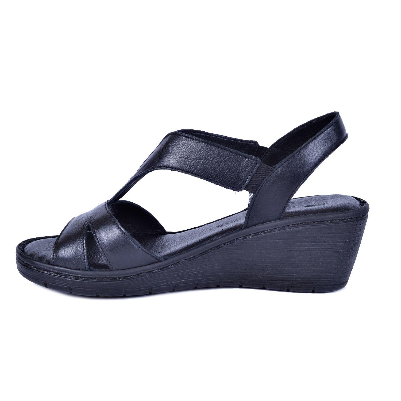 Siyah Kadın Deri Sandalet 1290