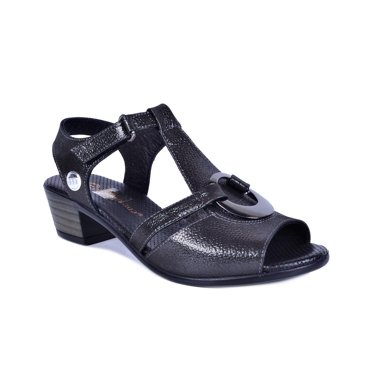 Gri Kadın Deri Sandalet 1040