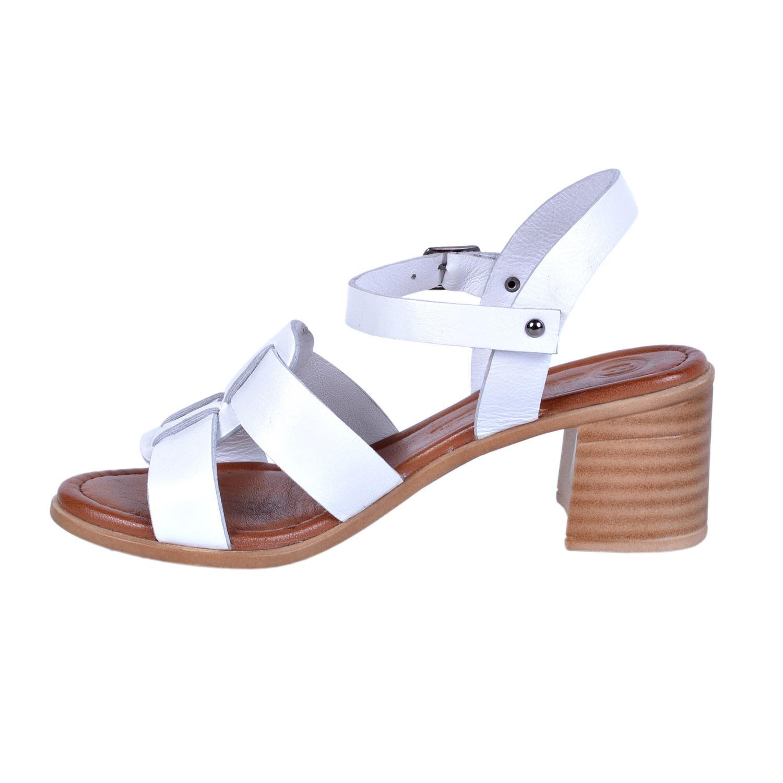Beyaz Kadın Deri Sandalet 1190