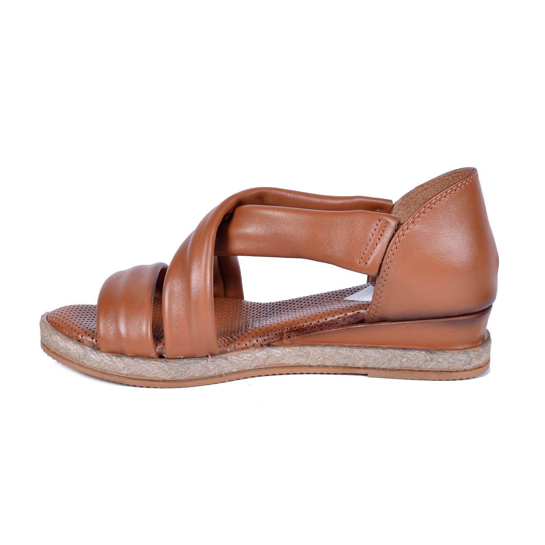 Mammamia 1115 Taba Kadın Deri Sandalet