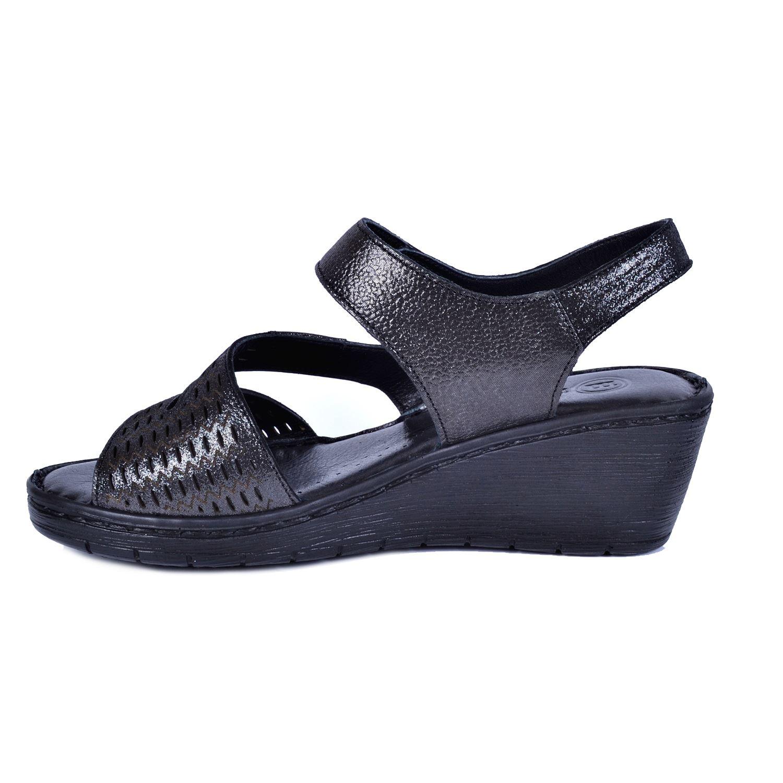 Mammamia 1295 Gri Kadın Deri Sandalet