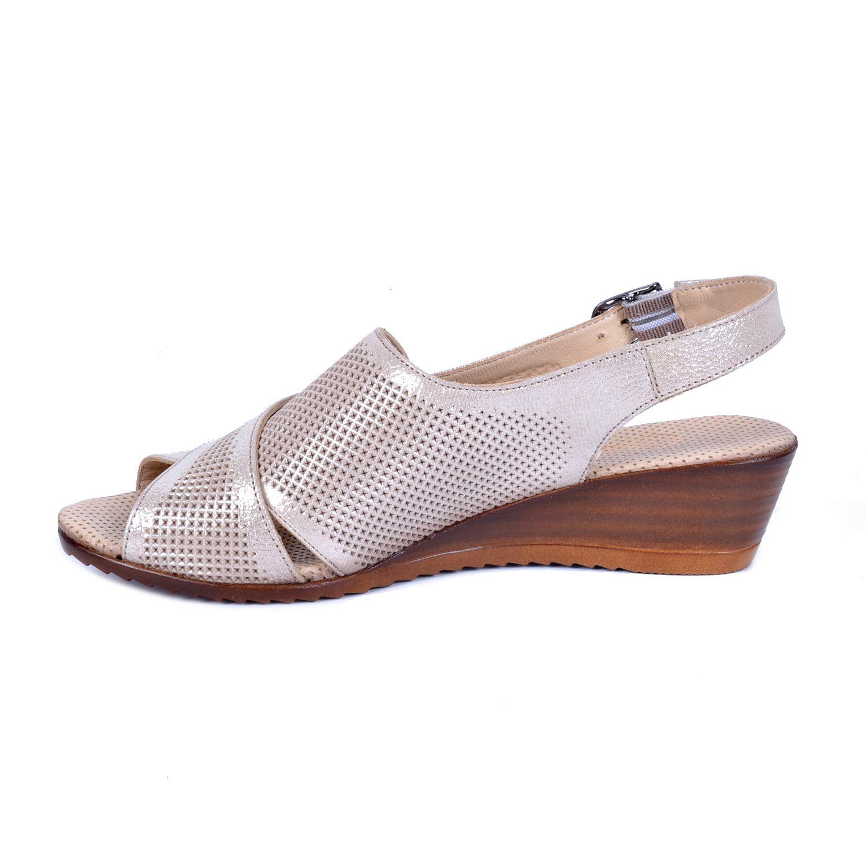 Mammamia 1060 Bej Kadın Deri Sandalet