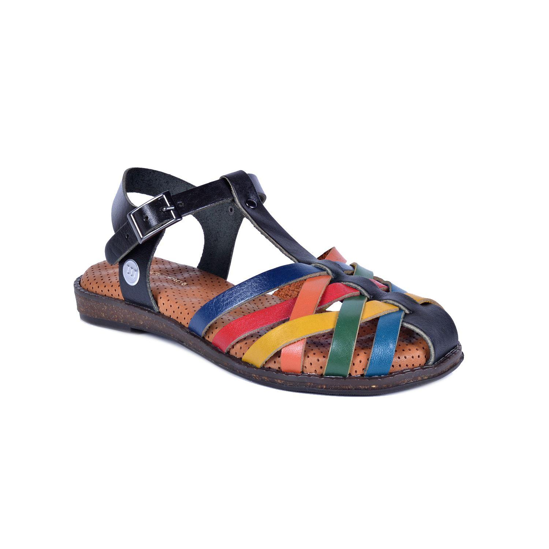 Mammamia 1380 Siyah Kadın Deri Sandalet