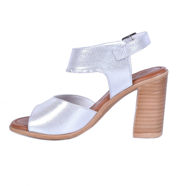 Mammamia 1120 Gri Kadın Deri Sandalet