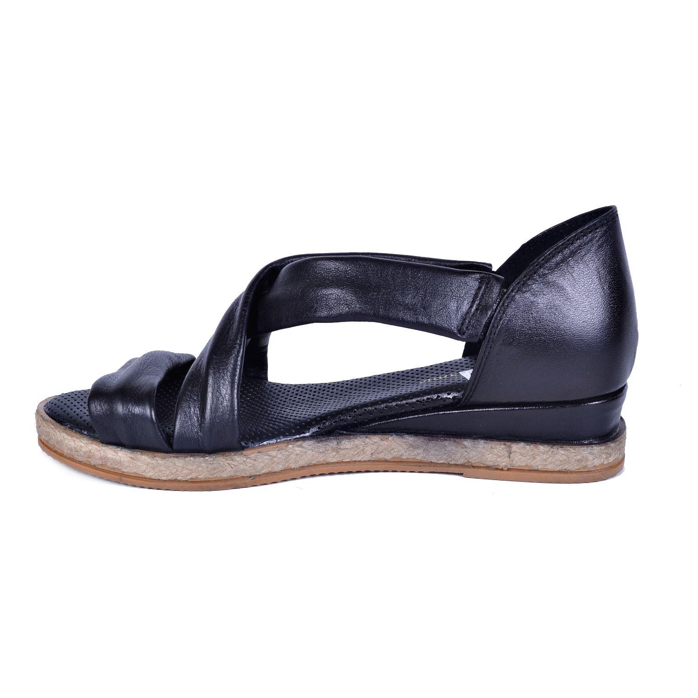 Mammamia 1115 Siyah Kadın Deri Sandalet
