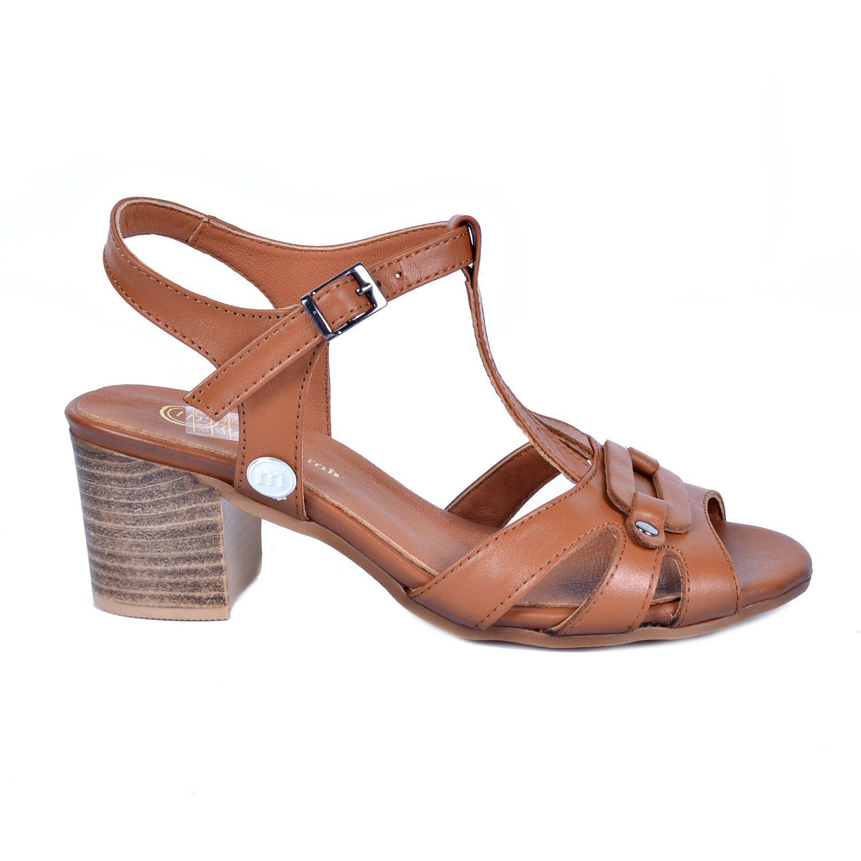 Mammamia 1110 Taba Kadın Deri Sandalet