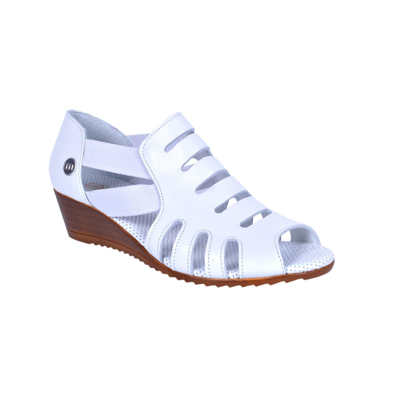 Mammamia 260 Beyaz Kadın Deri Sandalet