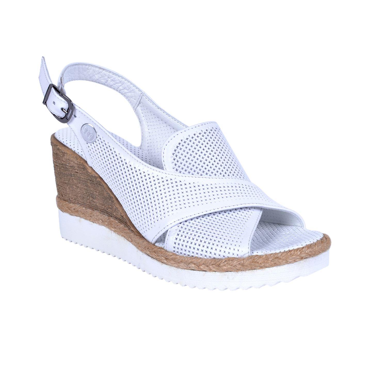 Mammamia 1260 Beyaz Kadın Deri Sandalet