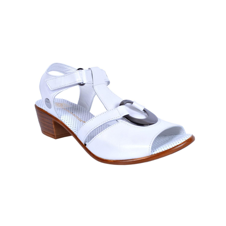 Mammamia 1040 Beyaz Kadın Deri Sandalet