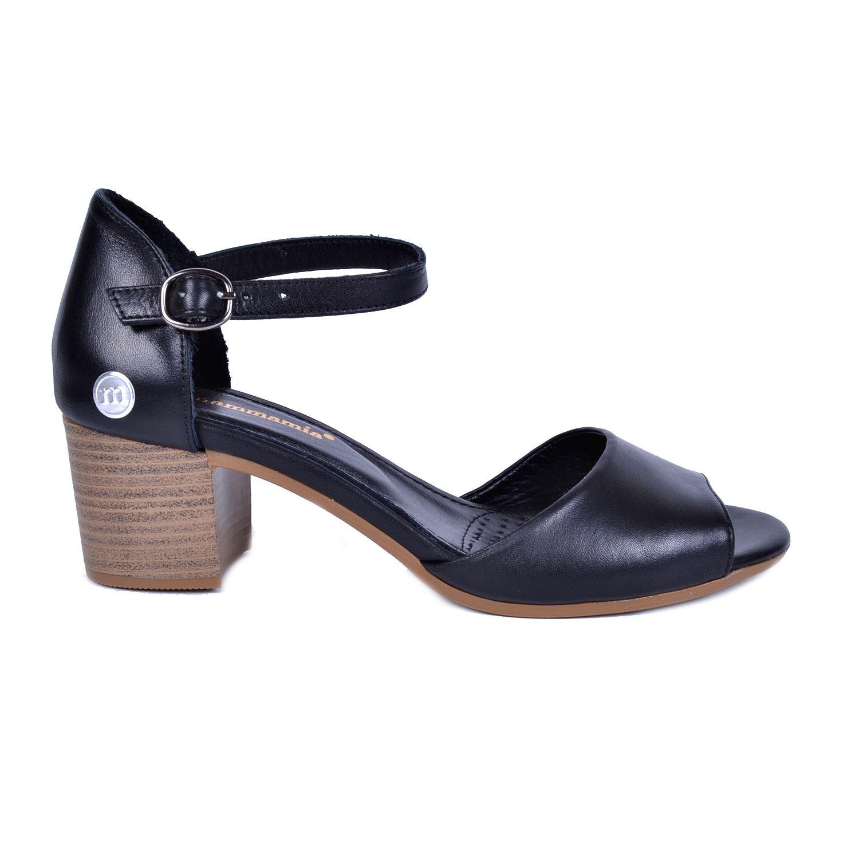 Mammamia 1245 Siyah Kadın Deri Sandalet