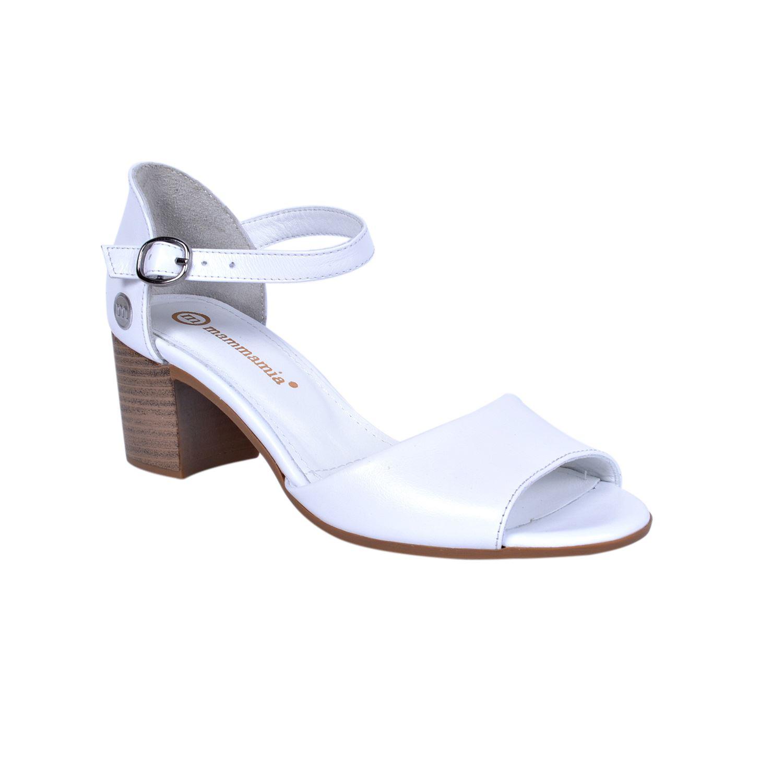 Mammamia 1245 Beyaz Kadın Deri Sandalet