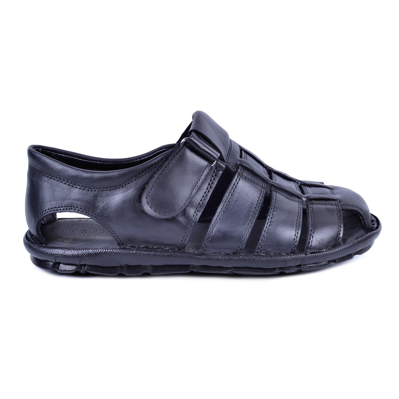 Siyah Erkek Deri Sandalet